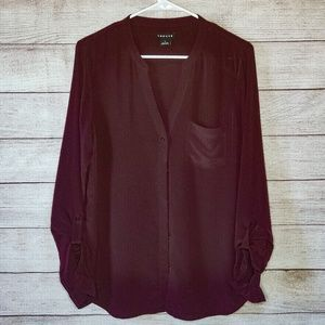Trouve 100% Silk Maroon Collarless Blouse M